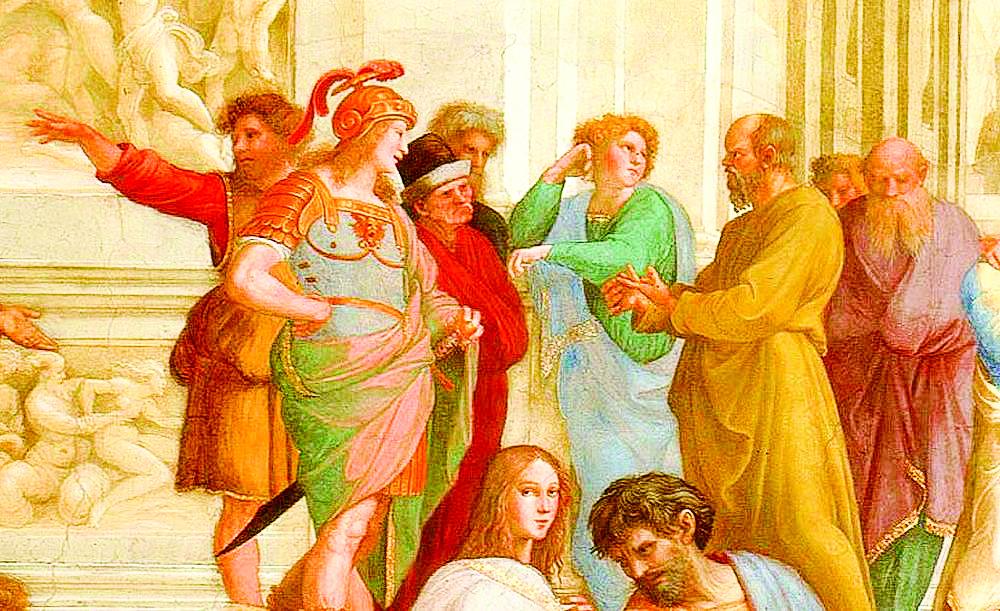 《雅典學院》局部,蘇格拉底與追隨者。(公有領域)