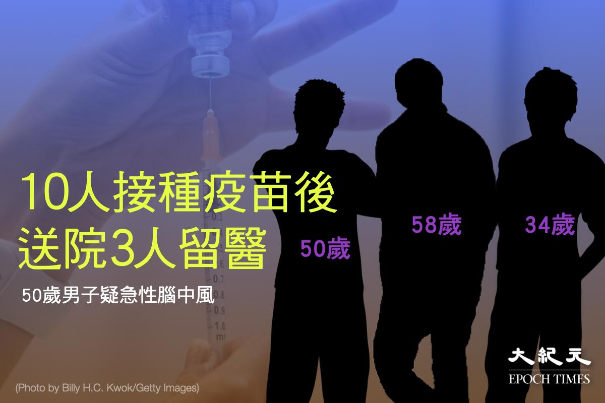 政府晚上公佈,有10人在25日在社區疫苗接種中心接種中共病毒疫苗後送院。(大紀元製圖)