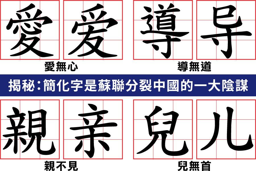 有文章揭密,簡化字是蘇聯分裂中國的一大陰謀。當年蘇聯積極推動中國的漢字拼音化,而簡化字是漢字走向拼音化的重要一步。(大紀元製圖)