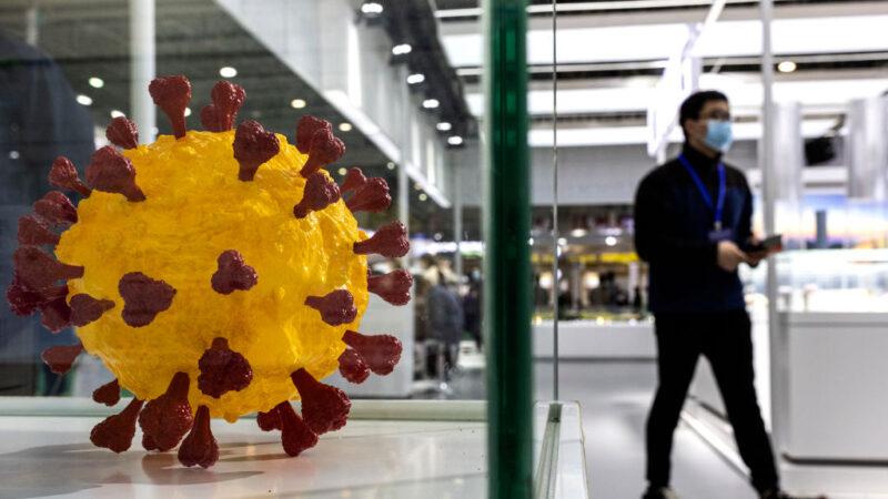 中國已經有多地檢測到了印度變異毒株。圖為中國湖北省武漢市2021年4月8日舉行的第三屆世界衛生博覽會上的冠狀病毒模型。(Getty Images)