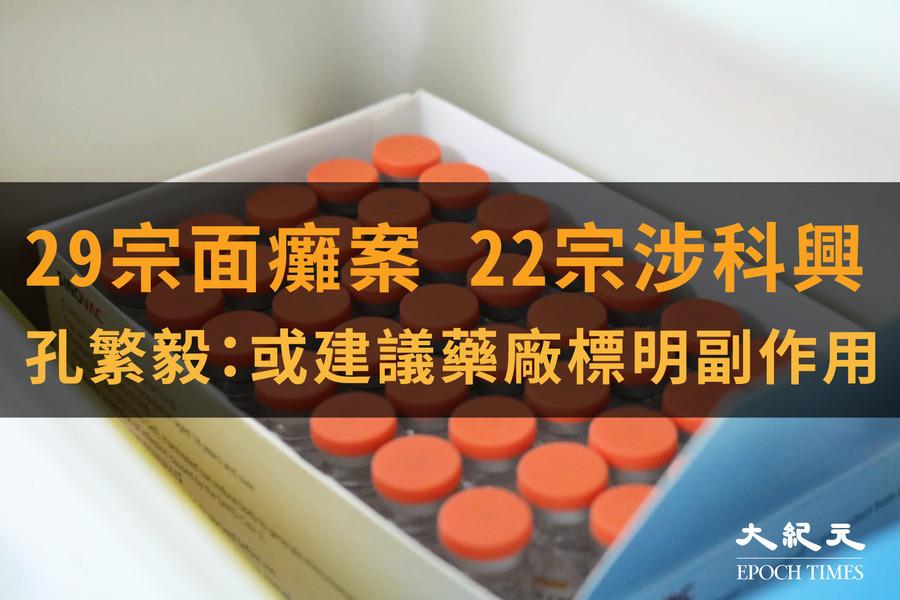 本港至少29人面癱 22宗涉科興 孔繁毅:或建議藥廠標明副作用