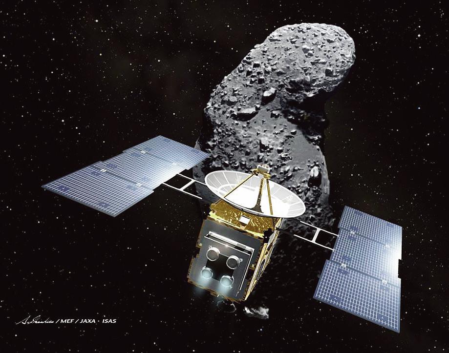示意圖。圖為日本的太空探測器「隼鳥」(Falcon)和太空中一顆名為Itokawa的小行星。(Getty Images)