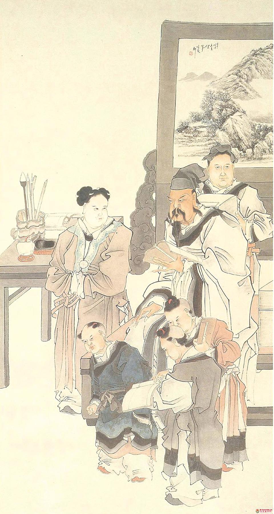 清代畫家任薰繪《竇燕山教子圖》。(公有領域)