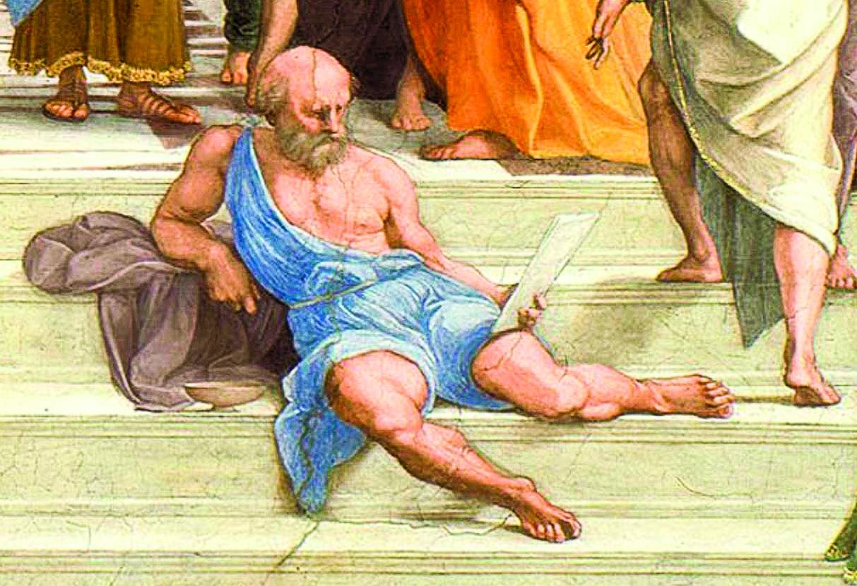 《雅典學院》局部,犬儒派的戴奧基尼斯。(公有領域)