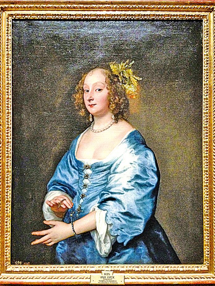 《凡‧戴克夫人瑪麗‧魯斯文像》(Mary, Lady van Dyck, née Ruthven),約1640年作,布面油畫,馬德里普拉多國家博物館藏。(Kati Vereshaka/Epoch Times)