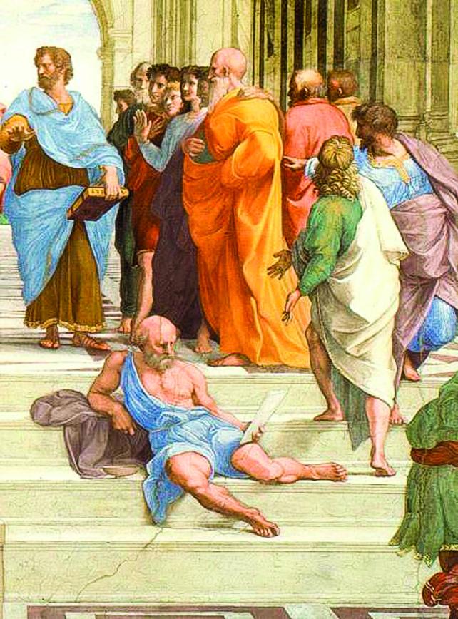 《雅典學院》局部,年輕人似乎在抗議戴奧基尼斯的態度。(公有領域)