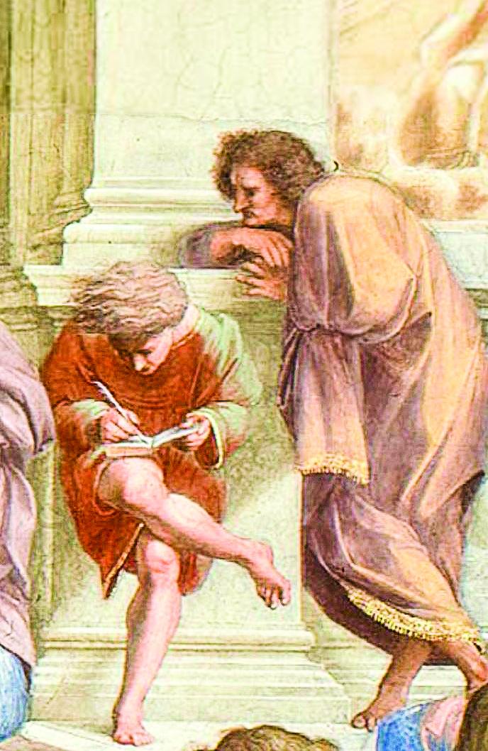《雅典學院》局部,一個老師正在看著弟子做筆記。(公有領域)