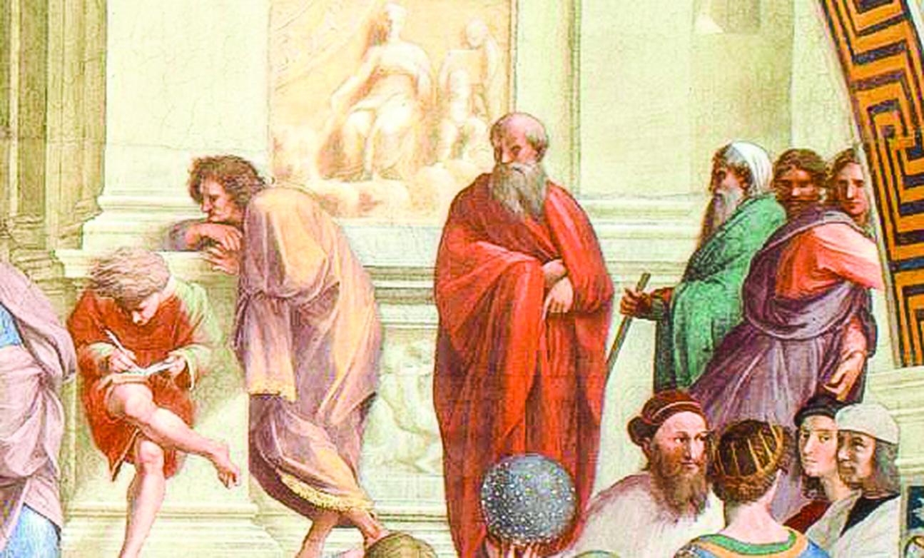 《雅典學院》局部,身穿紅袍的新柏拉圖主義哲學家普羅提諾(Plotinus),位於一對師生與犬儒派人士之間。(公有領域)