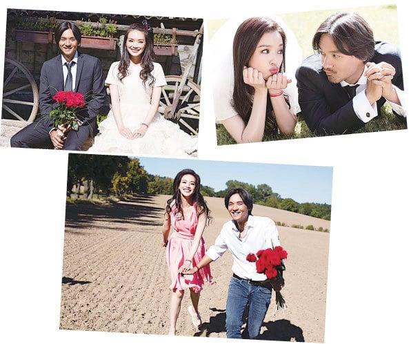 (上、中、下圖)舒淇和馮德倫結婚照。(梁爾紋Facebook)