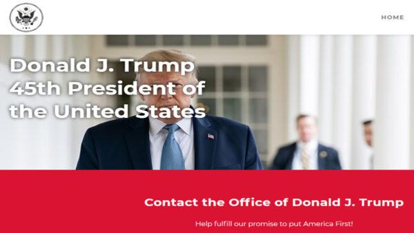 特朗普成立的個人官方網站首頁。(特朗普官網截圖)