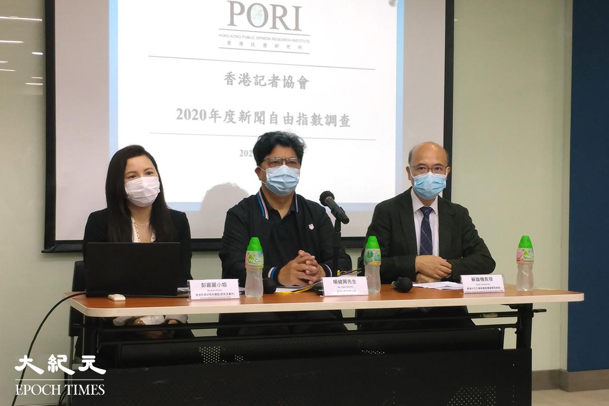 香港記者協會於5月3日世界新聞自由日,公布2020年本港新聞自由指數。(溫迪/大紀元 )