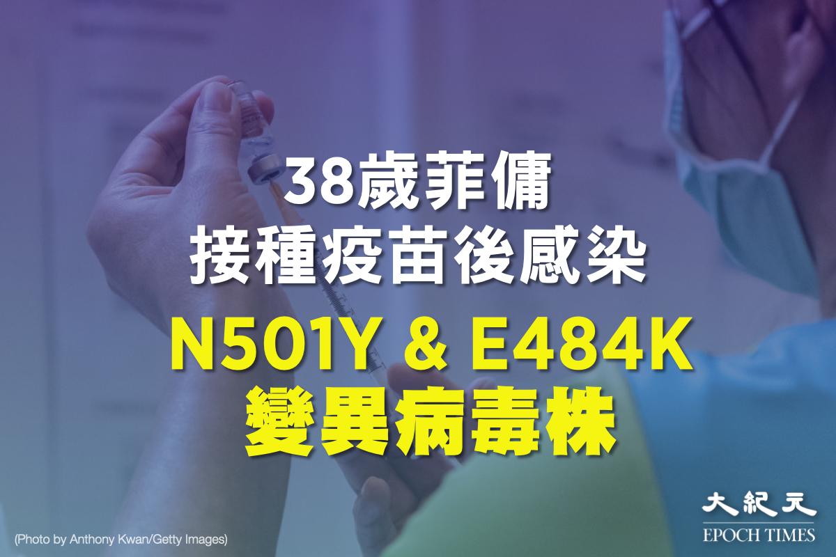 一名46歲菲傭曾於上月接種第一劑復必泰(BioNTech)疫苗,但仍確診感染並帶有N501Y和E484K變異病毒株。(大紀元製圖)