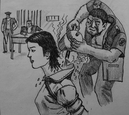 中共酷刑示意圖:熱水燙。(明慧網)