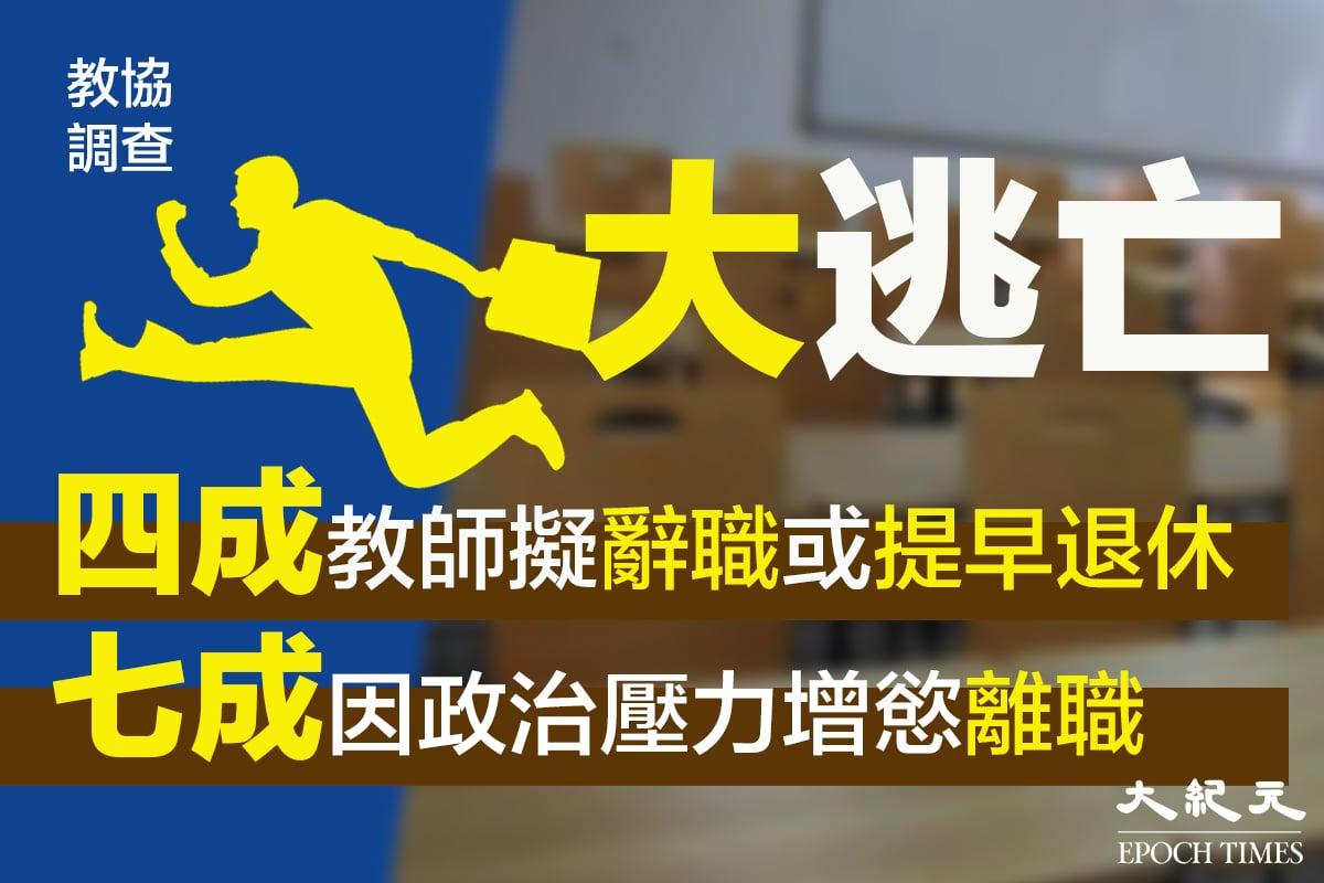 教協指有4成教師有意離開本地教育界,主因是「政治壓力日增」。資料圖片。(大紀元製圖)