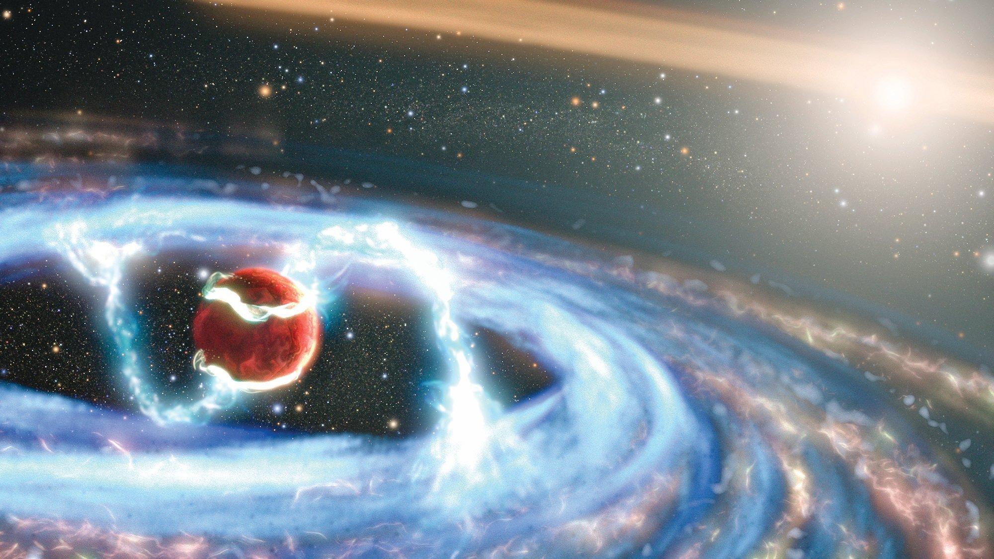 美國國家航天局的哈勃太空望遠鏡最近捕獲了一個難得一見的天文事件,一個大約木星大小、仍在形成的行星,它在吸取一顆年輕恆星周圍的物質。(NASA, ESA, STScI, Joseph Olmsted)