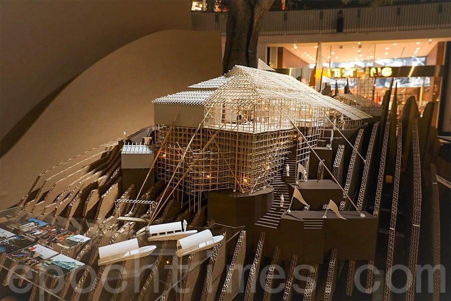 蒲台島天后誕戲棚模型曾參展香港建築師學會主辦的「島與半島」建築展覽,2019年在洛杉磯展出,去年亦曾於荃灣如心廣場展出。(活動主辦單位提供)
