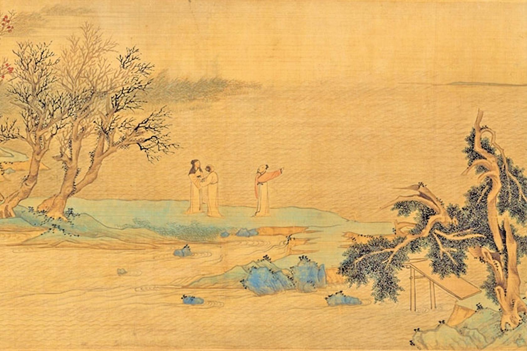 明‧文徵明《倣趙伯驌後赤壁圖》(局部),描繪蘇軾與二友人攜酒與魚復遊赤壁。(公有領域)