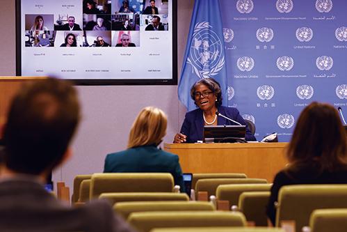 美國駐聯合國大使托馬斯-格林菲爾德(Linda Thomas-Greenfield)。(Getty Images)
