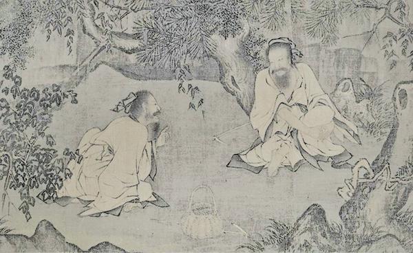 宋.李唐《采薇圖》以商朝末期伯夷、叔齊「不食周粟」的故事為題材而畫的作品(公有領域)