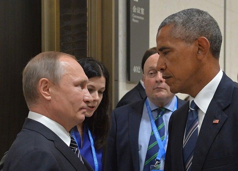 周一(9月5日),在杭州G20峰會期間,奧巴馬與俄羅斯總統普京舉行雙邊會晤,討論敘利亞衝突、烏克蘭危機等多項議題,但未能取得突破。(ALEXEI DRUZHININ/AFP/Getty Images)