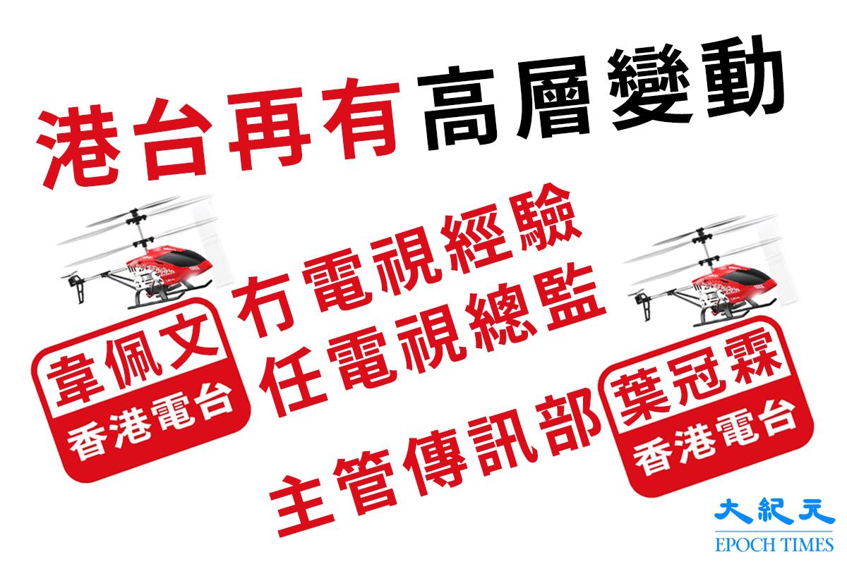 新任廣播處長李百全自3月上任後,頻繁整頓香港電台。據悉港台上週又透過內部通告,發佈2項高層人事調動,已於本月10日起生效。(大紀元製圖)