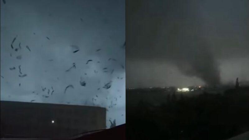 5月14日晚間,武漢市和蘇州盛澤鎮都遭遇龍捲風和冰雹襲擊。(影片截圖)
