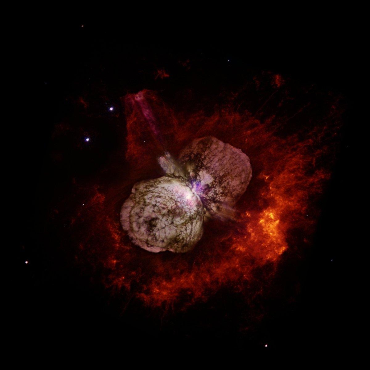 哈伯太空望遠鏡拍攝海山二與圍繞在該天體周圍的侏儒星雲(Homunculus Nebula)。(維基百科)