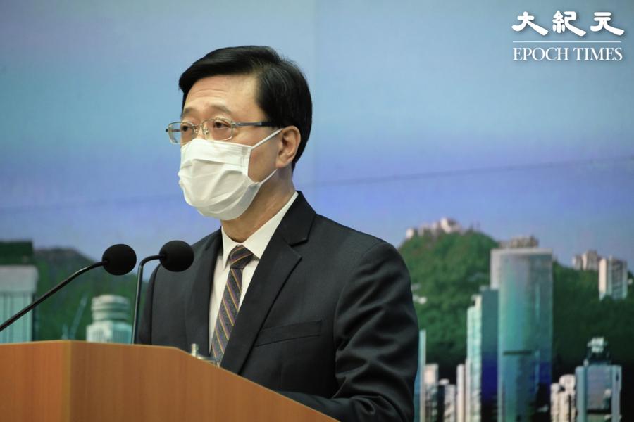 李家超批記者就蔡展鵬事件提問 拒公開凍結黎智英資產細節