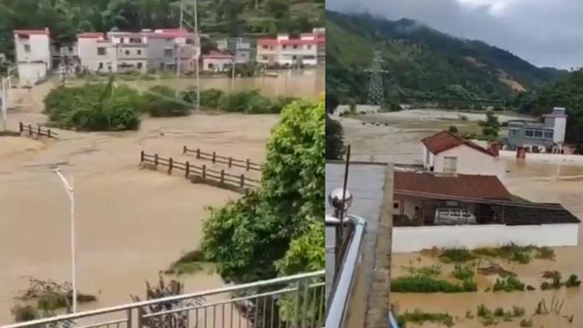 2021年5月17日,廣東韶關、南雄市遭遇暴雨襲擊,引發「50年一遇大洪水」。(影片截圖)