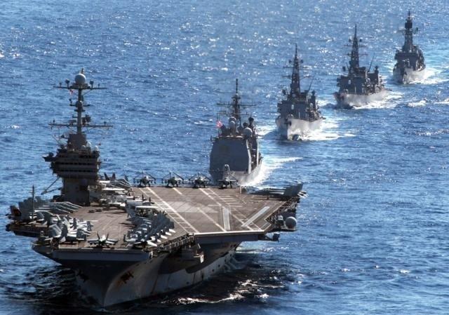 台海局勢持續緊張,有媒體披露,美國陸軍安全部隊(SFAB)已進駐台灣陸軍基地。圖為美國在印太軍演示意圖。(AFP)