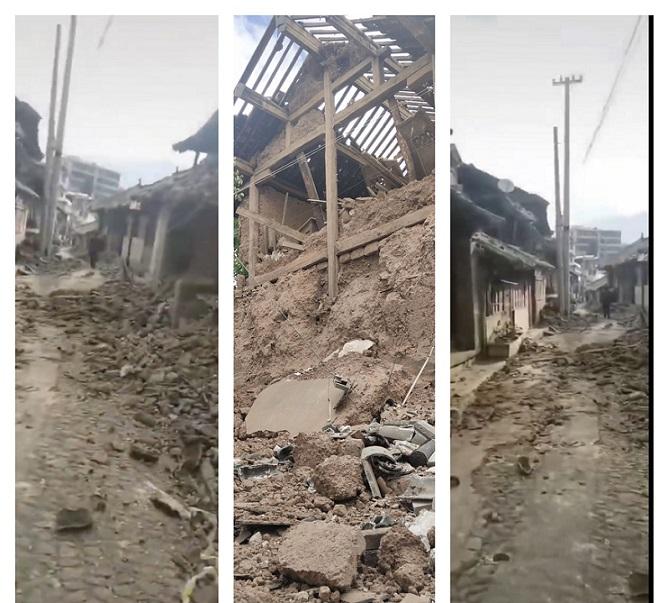 漾濞縣發生6.4級地震,房屋被震壞倒塌。(網絡拼圖)