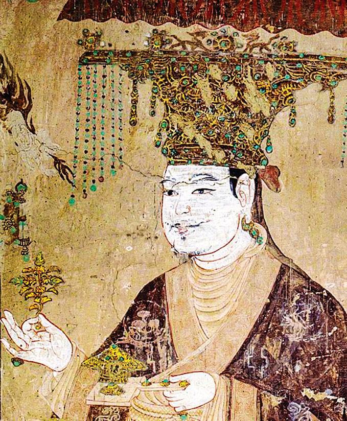圖為敦煌莫高窟第98窟,五代壁畫中的于闐國王供養像。(公有領域)