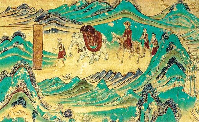 此為敦煌莫高窟的唐代第103窟的壁畫一隅,描繪唐僧師徒自天竺取經後,返回長安途中的情景。(公有領域)