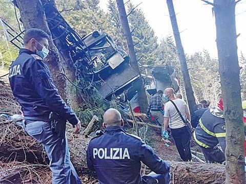 5月23日,意大利北部發生纜車墜毀事件。(Getty Images)