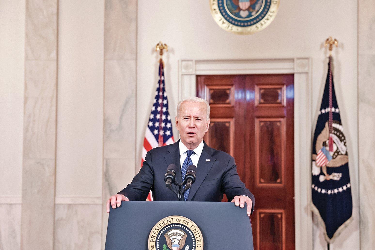 巴以達成停火協議後,拜登在白宮發表了臨時演講,表示美國在調停巴以停戰過程中付出很多。(Getty Images)