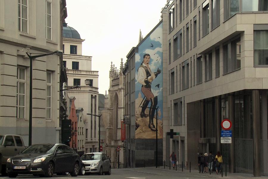 在布魯塞爾街道上的漫畫墻。(大紀元)