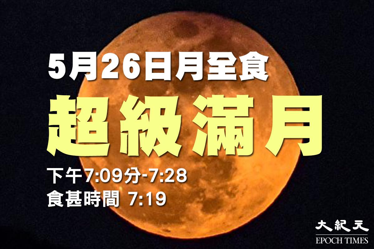 「超級血月」將於5月26日晚降臨,晚上7時許將出現月全食,在本港上空可以看到全年最大滿月。(大紀元製圖)