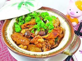 【梁廚美食】魚肚冬菇蒜子炆雞