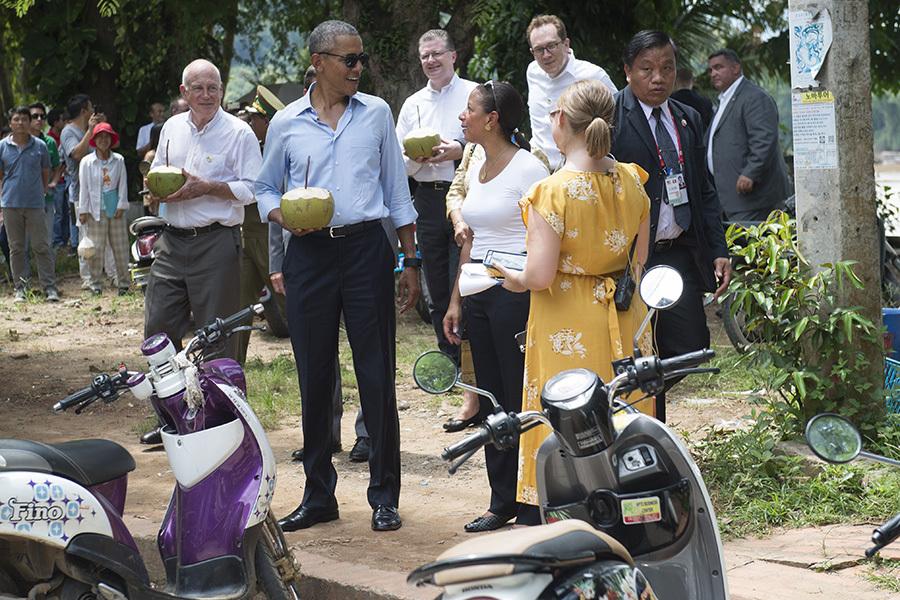 奧巴馬在老撾。(SAUL LOEB/AFP/Getty Images)