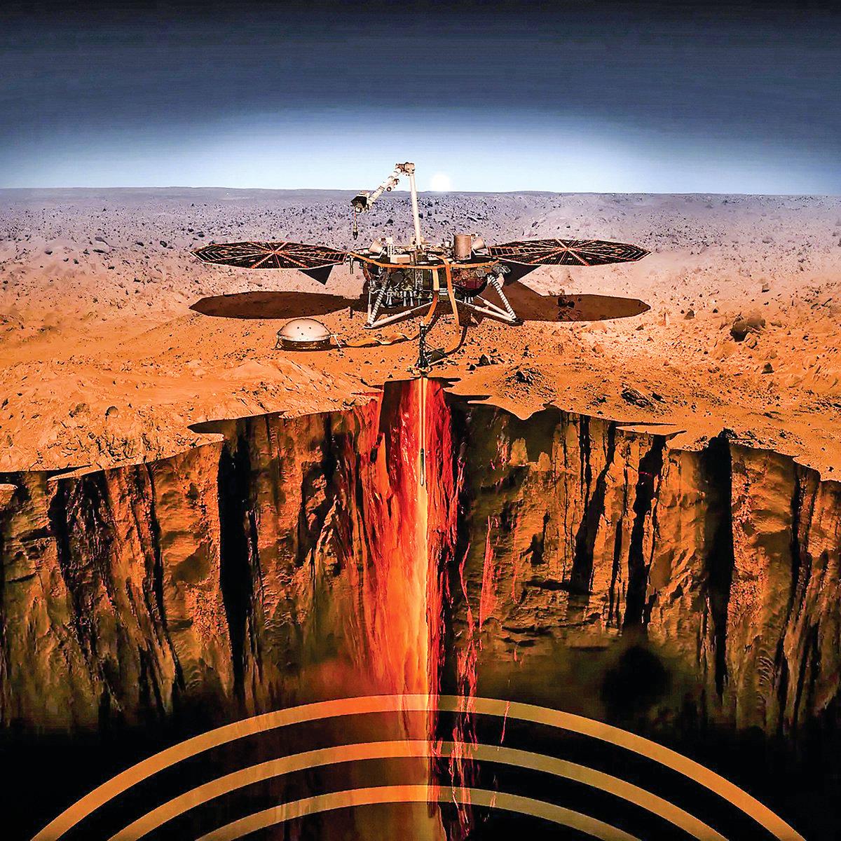洞察號在火星表面探測地震示意圖。(NASA)