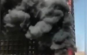 石家莊二十七層寫字樓燃燒大火 微博封鎖評論