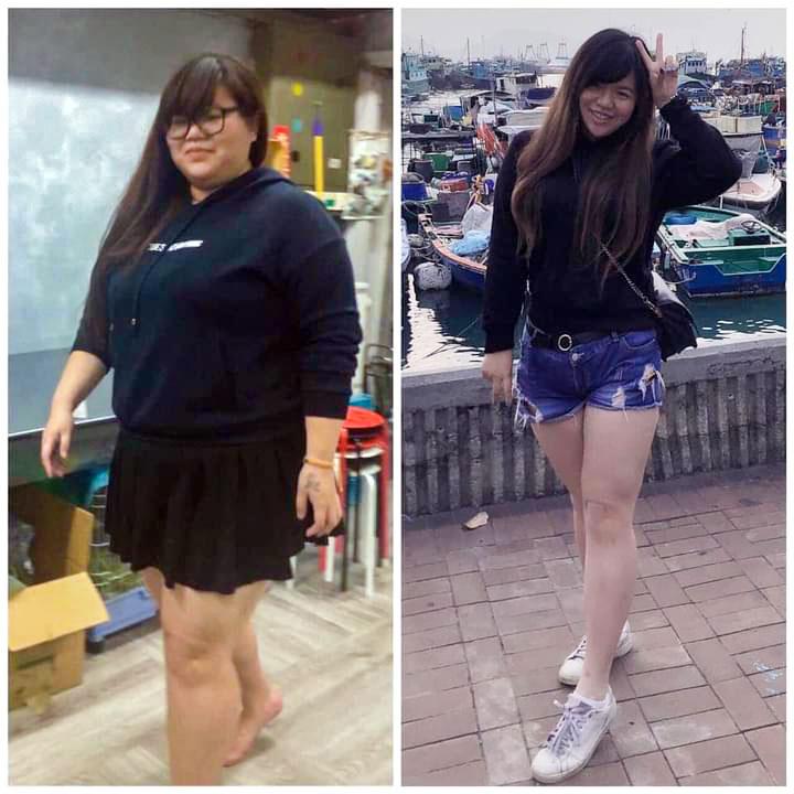 Cokimi減肥前和減肥後的相片,她笑言這些相片是自己減肥後保持身型的最大動力。(受訪者提供)