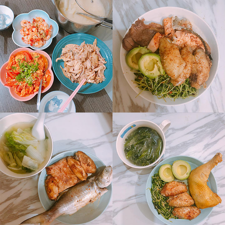 Cokimi的減肥餐單,盡量選擇清淡有營養的食物。(受訪者提供)