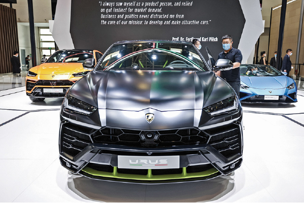 林寶堅尼首季銷售量同比增25%。圖為去年北京國際車展上展出的林寶堅尼。(Getty Images)