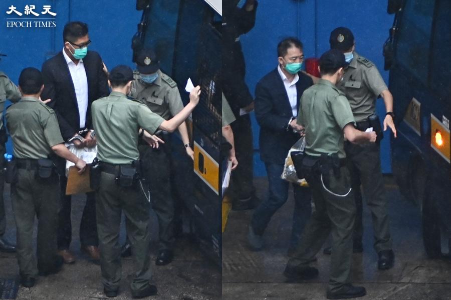 林卓廷(左)和胡志偉(右)等5名前立法會議員,被指於2018至2020年間違反《立法會權力及特權條例》,被控襲擊、妨礙立法會人員等罪,6月1日在西九龍裁判法院提訊。(宋碧龍/大紀元)