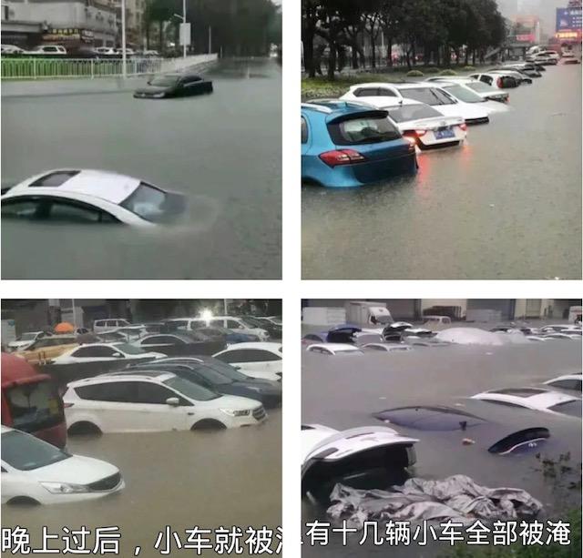 大雨造成大量車輛被淹。(影片截圖)