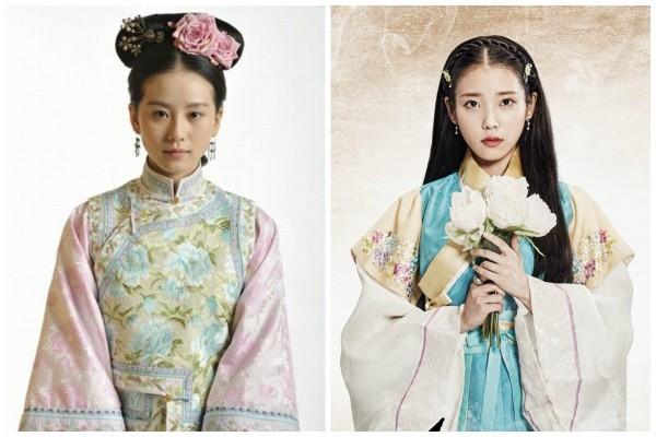 劉詩詩(左)與IU的古裝扮相。(網絡圖片)