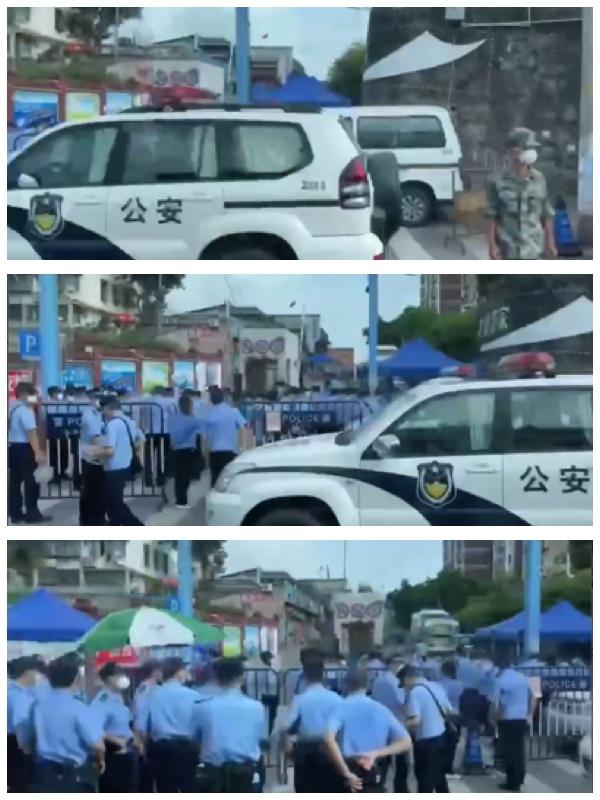 廣州大量公安與傳迷彩服的軍人在街上幫忙封閉社區