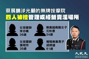 蔡展鵬涉光顧的無牌按摩院 四人被控管理或經營賣淫場所