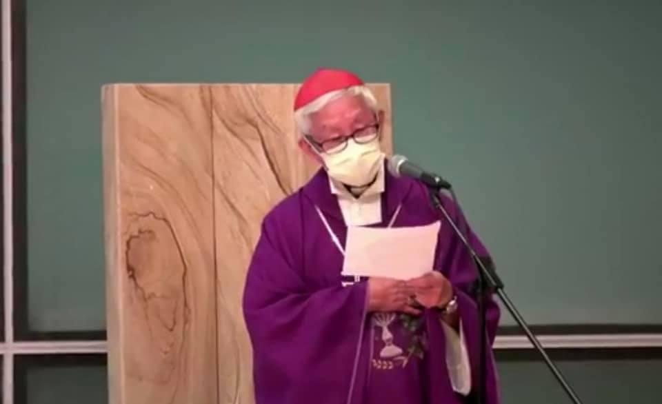 6月4日晚,天主教香港教區榮休主教陳日君樞機在追思亡者彌撒講道中講到:「我們拒絕悲觀,我們不會失望」。(陳日君樞機Facebook)
